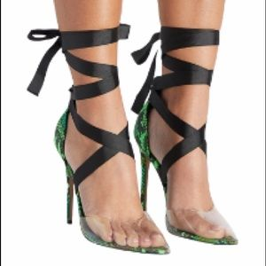 🆕Shoedazzle Green Snake Print Helana Lace Up Pump